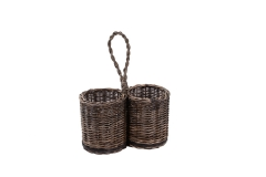 Wicker cutlery holder