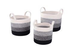 Set of 3 cotton rope storage baskets
