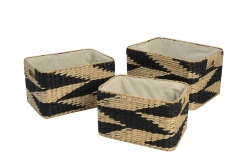 Set of 3 rush and paper storage baskets