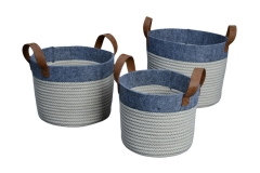 Set of 3 cotton rope and felt storage baskets