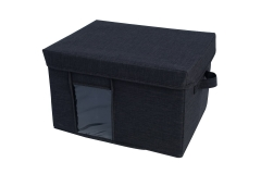 Foldable fabric box with lid