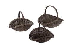 Set of 3 wicker log baskets