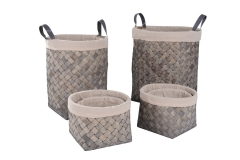 Set of 6 wood slice laundry hamper and baskets