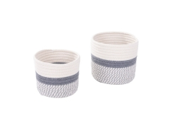 Set of 2 cotton rope storage baskets