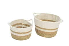 Set of 2 cotton rope and waterhyacinth storage baskets