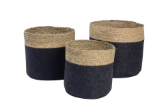 Set of 3 felt and seagrass baskets