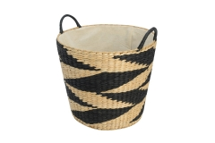 Rush and paper storage basket