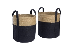 Set of 2 felt and seagrass baskets