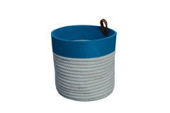 Cotton rope and felt storage basket