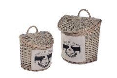Set of 2 wicker hanging baskets