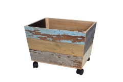 Recycled wood basket with wheels