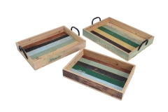 Set of 3 recycled wood tray