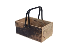 Recycled wood basket with handle