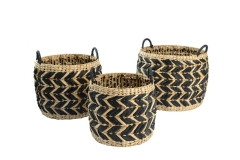 Rush and wire storage baskets
