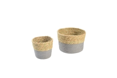 Seagrass and paper storage baskets